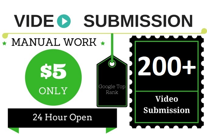 I will manually submit youtube video to 200 video sha...