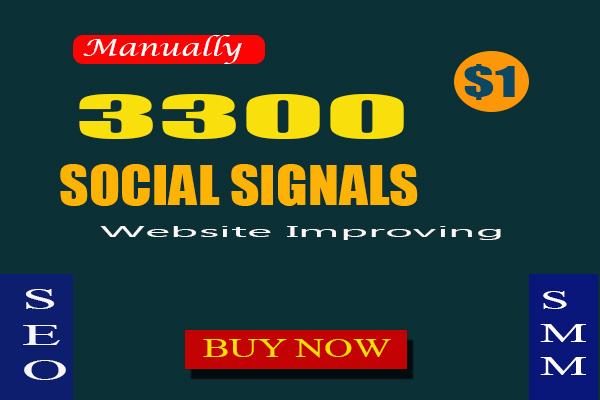 3300 Manually SEO Social Signals To Website Improve google linkedin pinterest