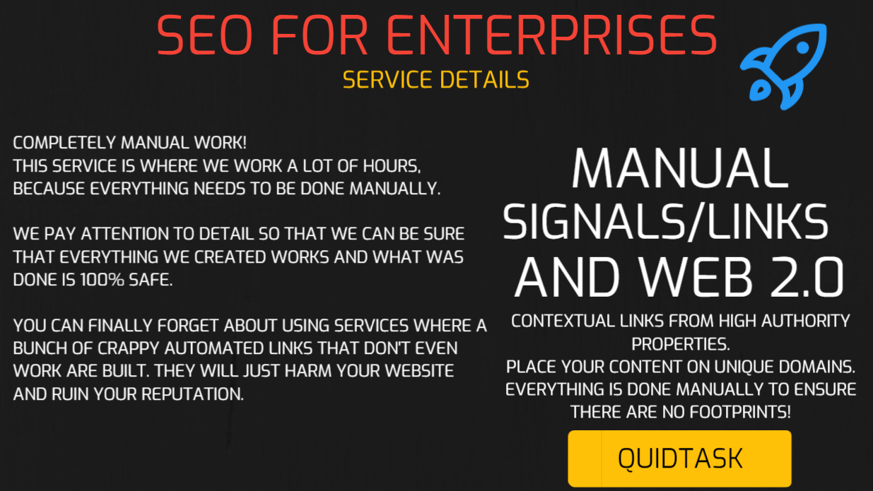ENTERPRISE SEO - Manual Link Building - Social Signals,  Backlinks,  Bookmarks and Video Creation - MANUAL WORK