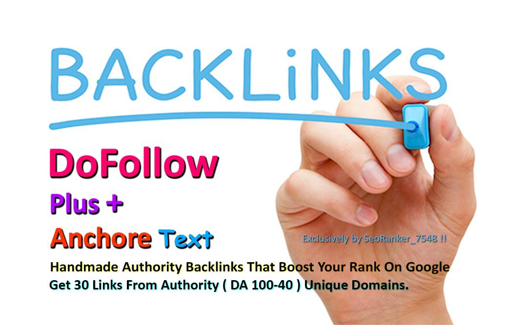 30 Dofollow + Anchor Text Authority Backlinks