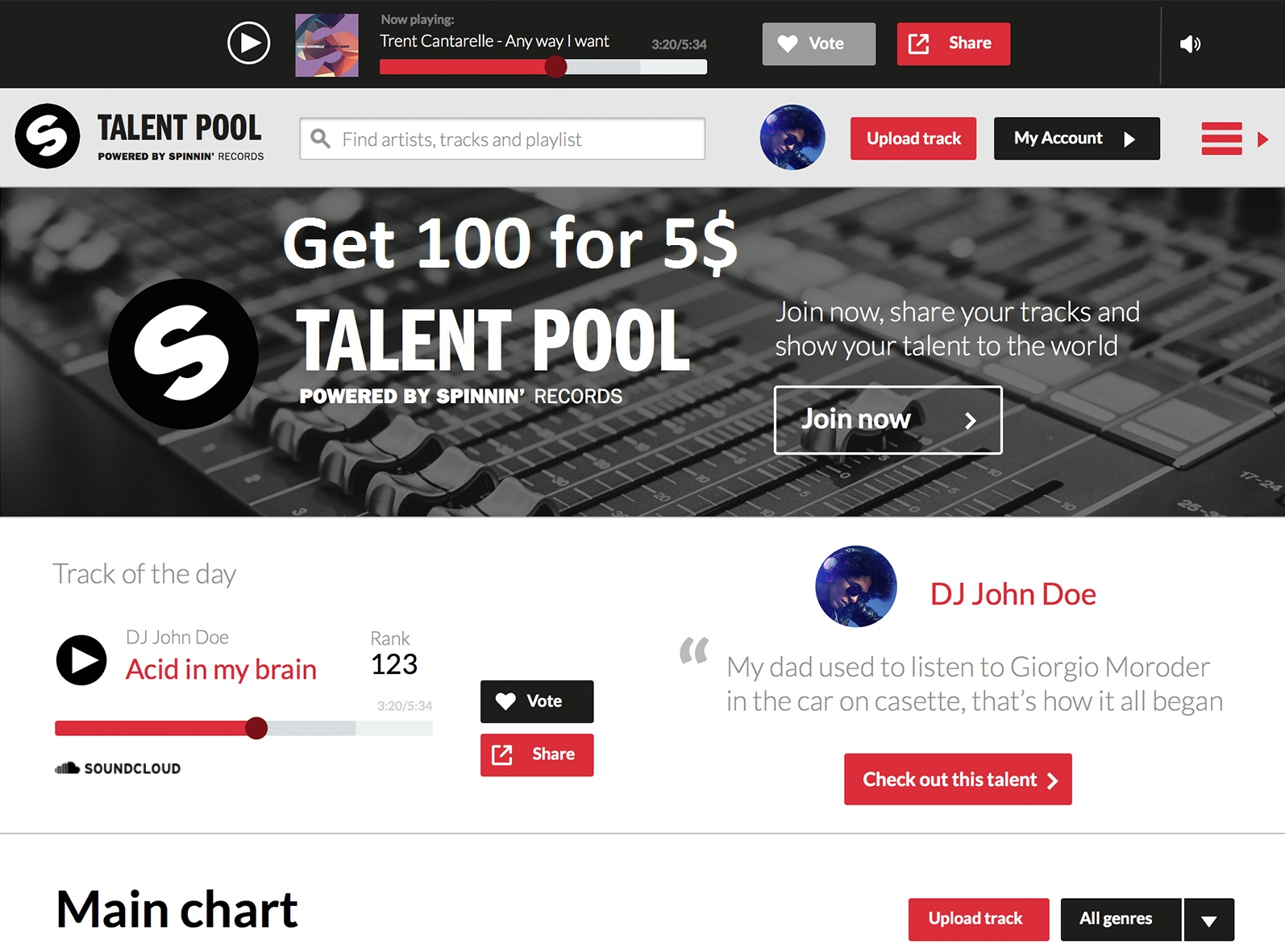 150 spinning Records Talent pool votes for your contest