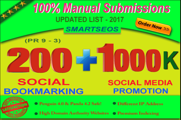 Manual Social Bookmarking Upto 200 Sites PR 9 To 3 With Guaranteed Index