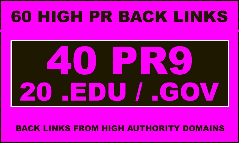 40 PR9-7 + 20. edu &. gov High PR Backlinks - EXCELLENT RESULTS