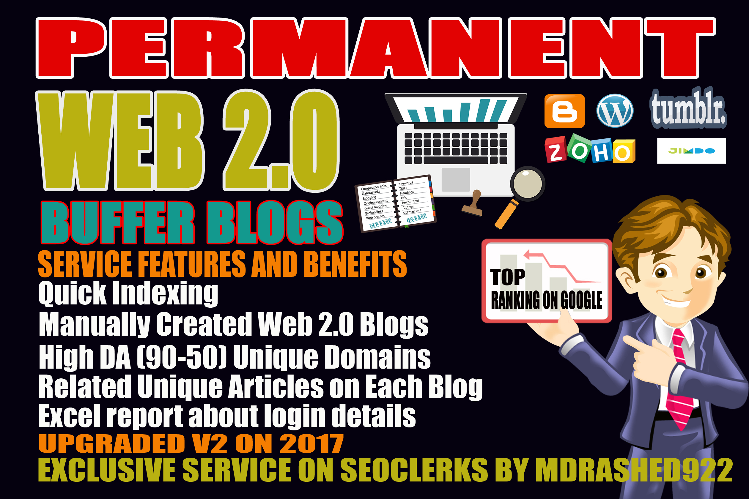 Handmade 15 Web 2.0 Buffer Blogs with login, unique Content,  Image,  Video and High DA Backlinks