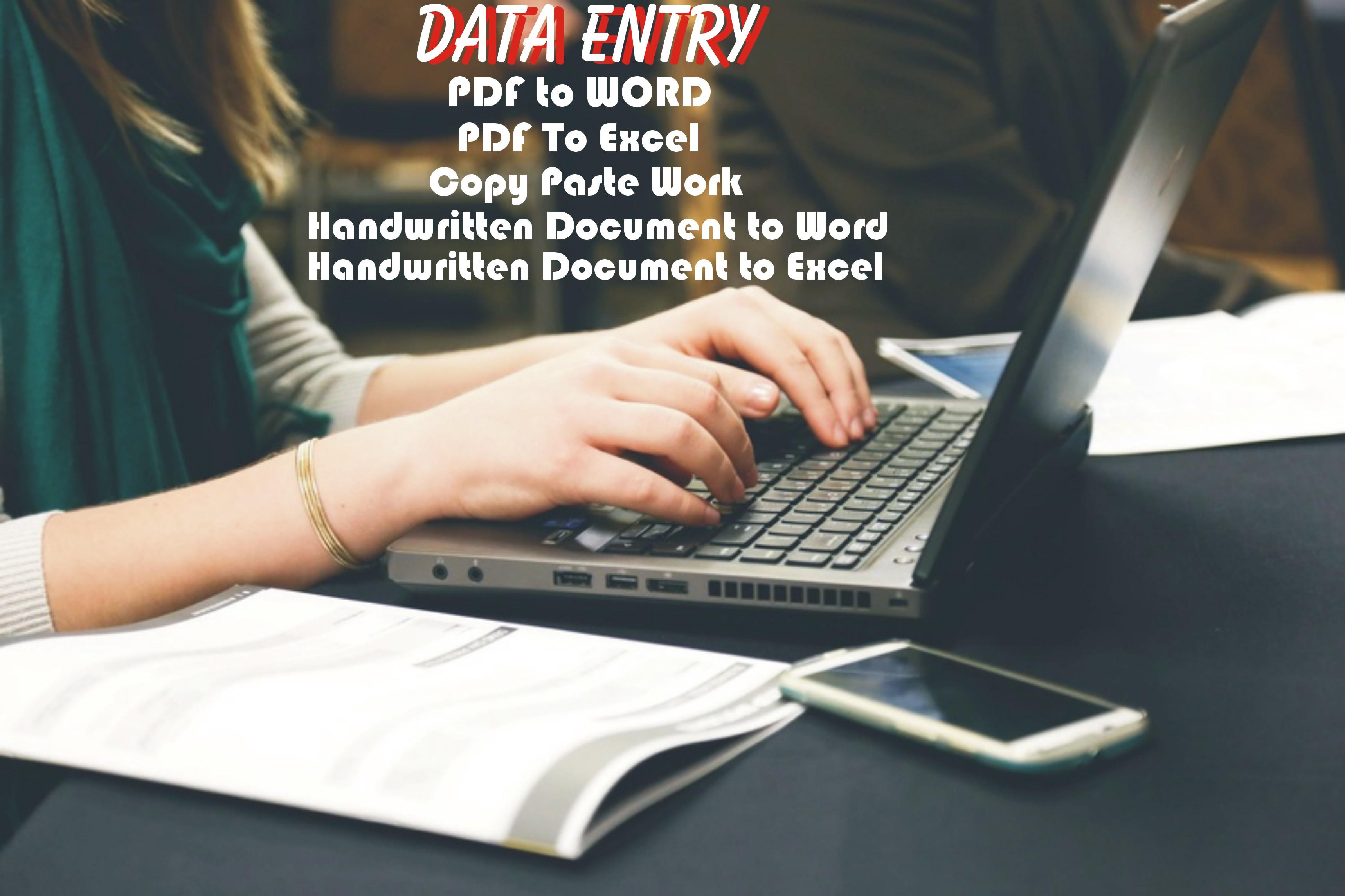 Data Entry Pdf,  Excel,  Word,  Copy Paste,  data Entry Online Or Offline