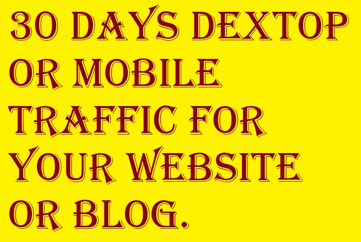 30 Days Desktop or Mobile Traffic for your Website or blog.