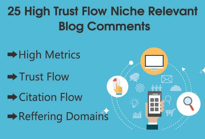 Offer 25 high da, tf Niche relevant Blog comments ba...