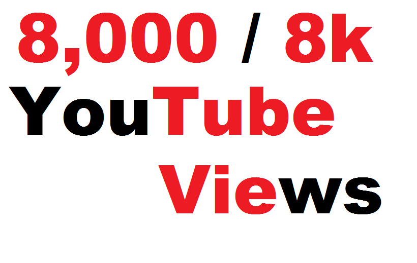 8,000 High Quality Non Drop YouTube Views Fully safe