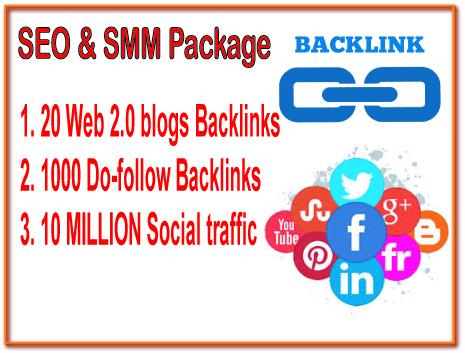 SEO & SMM Package - 20 Web 2.0 blogs backlinks -1000 Do-follow backlinks- Promote 10 Million Social People