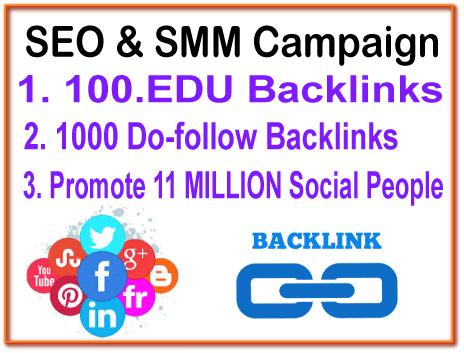 SEO & SMM Campaign - 100. EDU Backlinks- 1000 Do Follow Backlinks - 11 Million Social Promotion