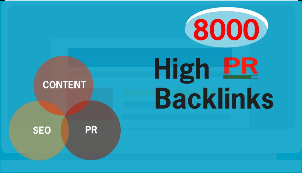 Create 8000 PR9, PR7 Mix Contextual Live Backlinks For SEO