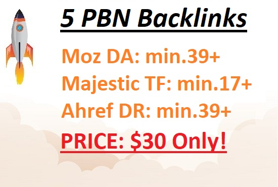 5 High Quality PBN links from min. DA39+ and min. TF17+