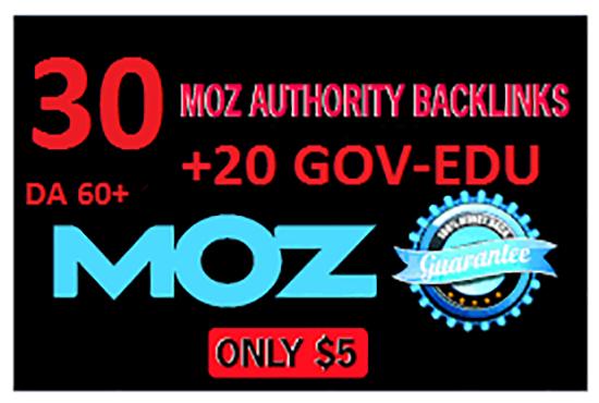 Manually do 30 Moz Authority Backlink With 20 Edu Gov For You