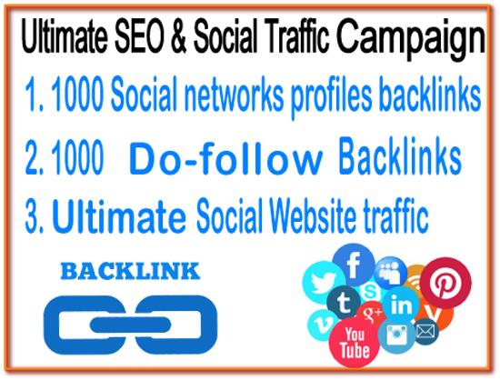 Ultimate SEO & Social Traffic Campaign - 1000 Soc...