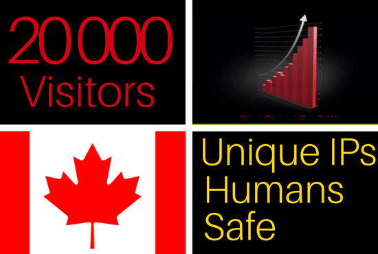 Drive 20k traffic visitors from Canada to your website