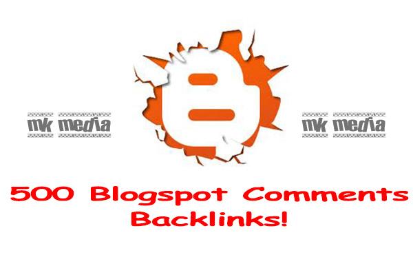 create 500 blogspot comment backlinks.