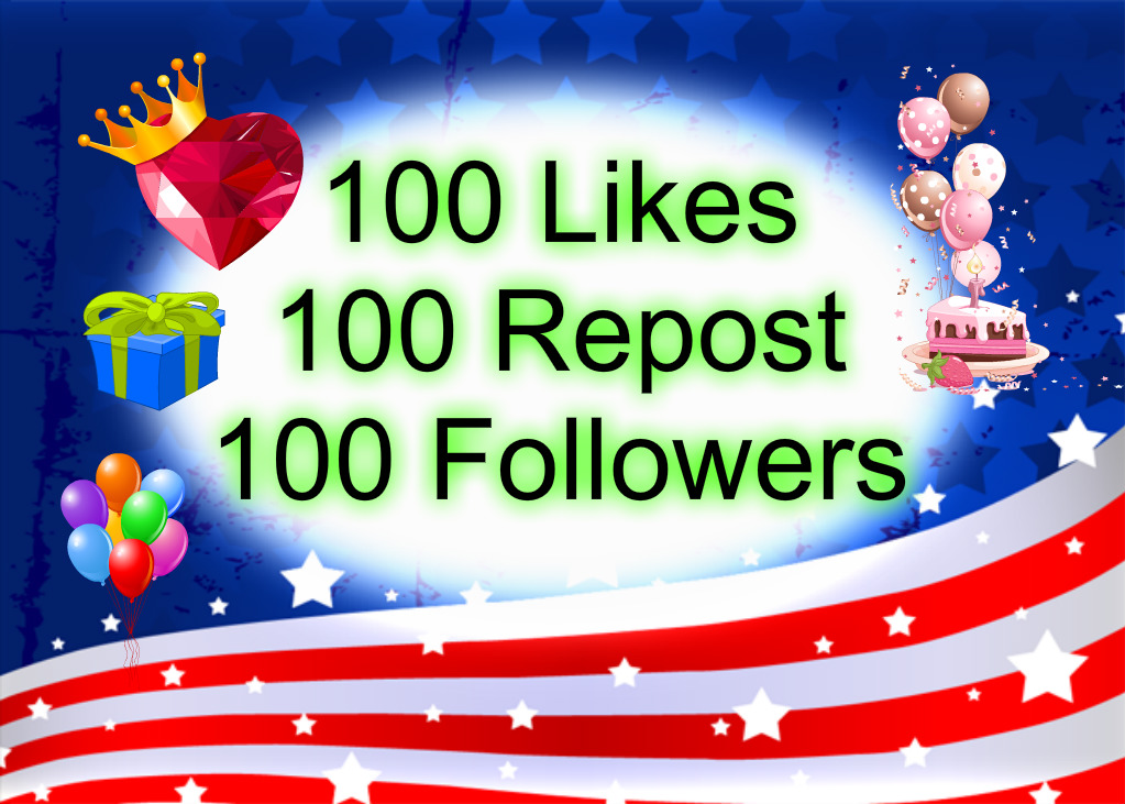 100 Followers Or 100 Likes-Favorites Or 100 Repost