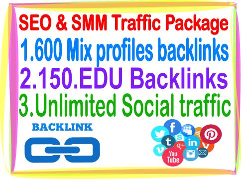 Most Popular SEO & SMM Package on Monster Backlinks- 600 Mix profiles Backlinks- 150 Edu Backlinks- Unlimited Social traffic