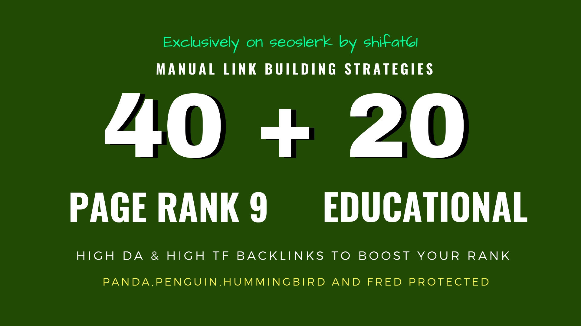 40 Pr9 + 20 Edu Gov High Trust SEO Authority Backlinks