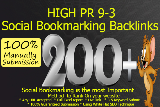 Submit Your Url 200+ High Quality Social Bookmarking Backlinks Manually