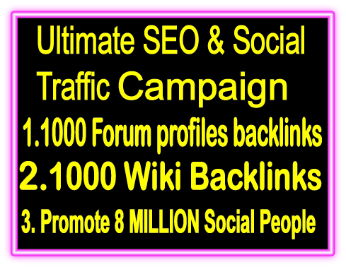 Top  Popular SEO amp SMM Package on SeoClerks 1000 Forum Profiles Backlinks 1000 Wiki Backlinks Promote 8 Million Social