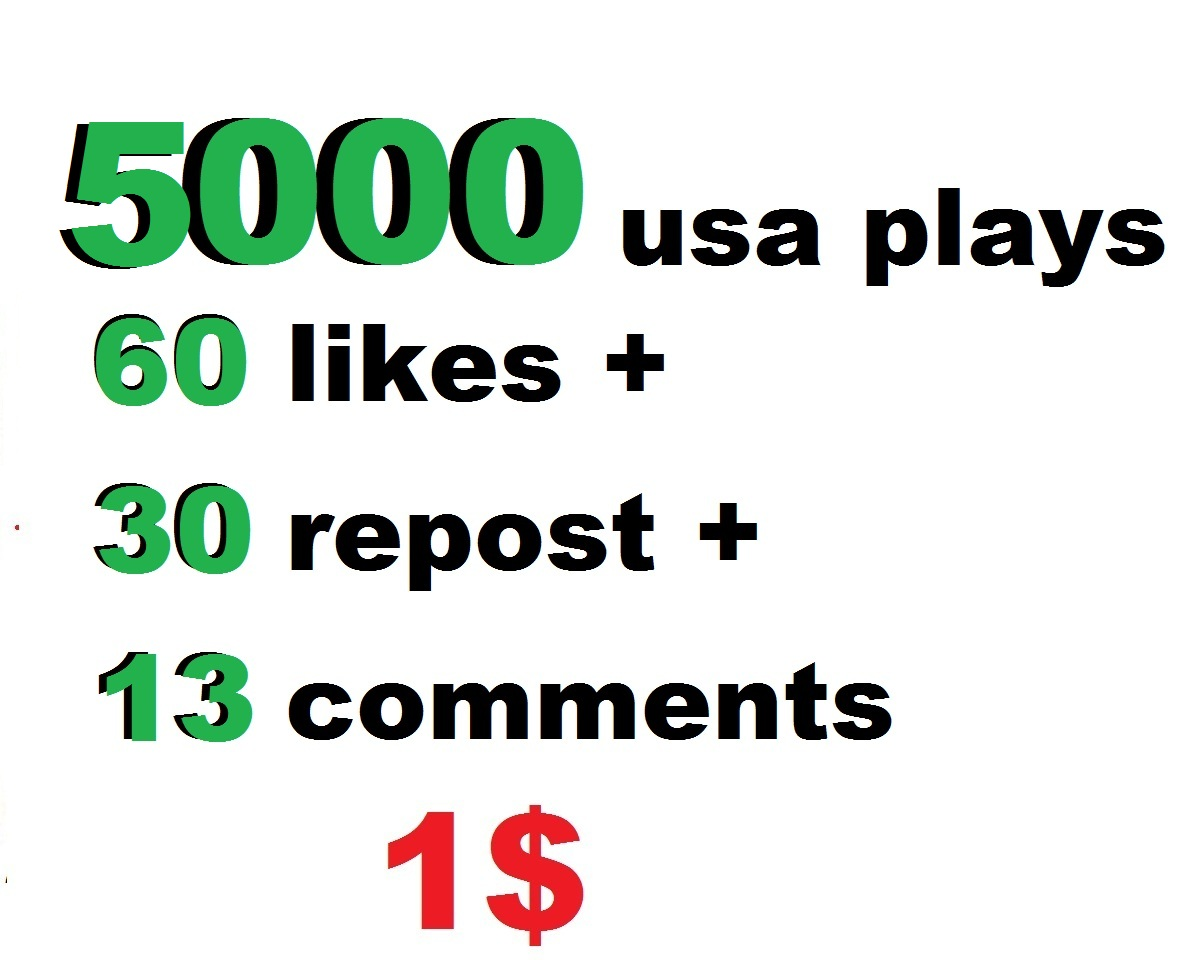 5000 usa plays 60 likes and 30 repost and 13 comments within 24 hour