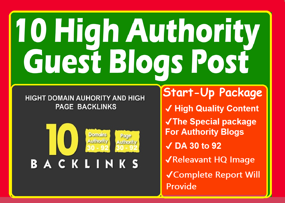 Write and Publish 10 X Guest Posts On DA90 with Dofollow or Nofollow High Powerful Backlinks