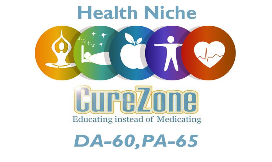"""Write And Publish Health Niche Guest Post on """"Curezone"""" DA-60"""