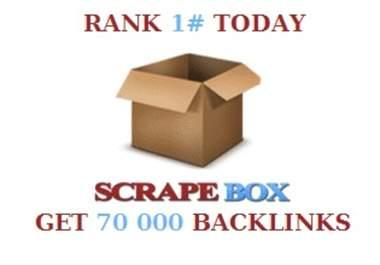 do a scrapebox blast of 70 000 guaranteed blog comments backlinks,  unlimited urls/keywords allowed.
