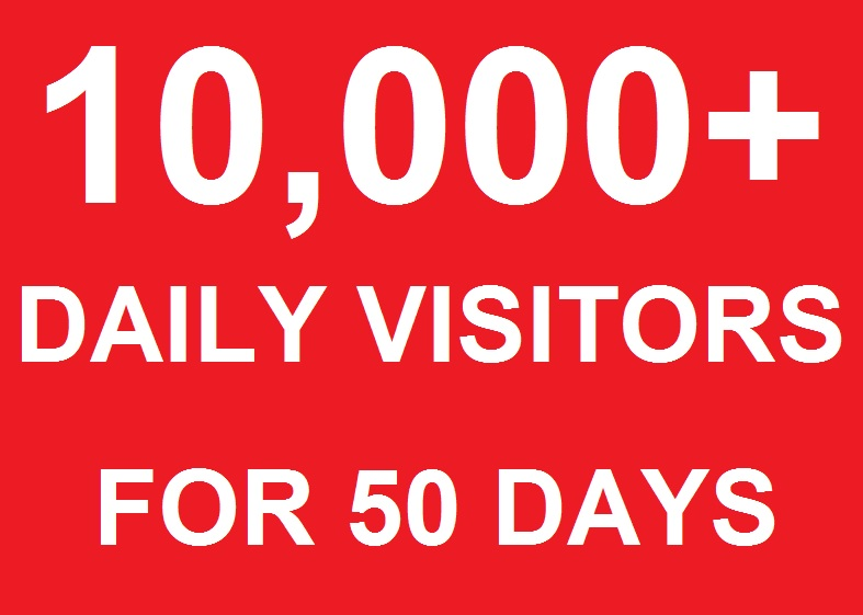 10000 - 11000 Daily traffic Visitors to Your website For 50 Days By Social websites