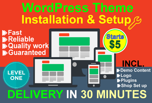 I will install WordPress, WordPress theme setup as like demo