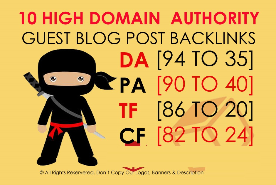 Write and Publish 10 X High Authority Guest Post DA 9...