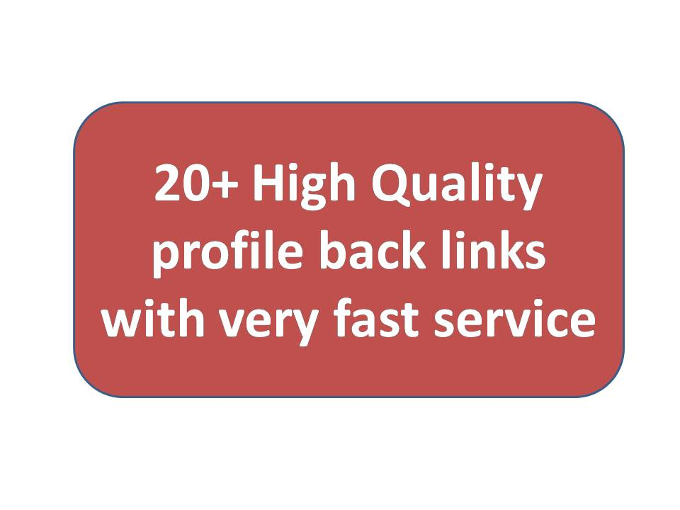 20+ High Quality profile backlinks with very fast service