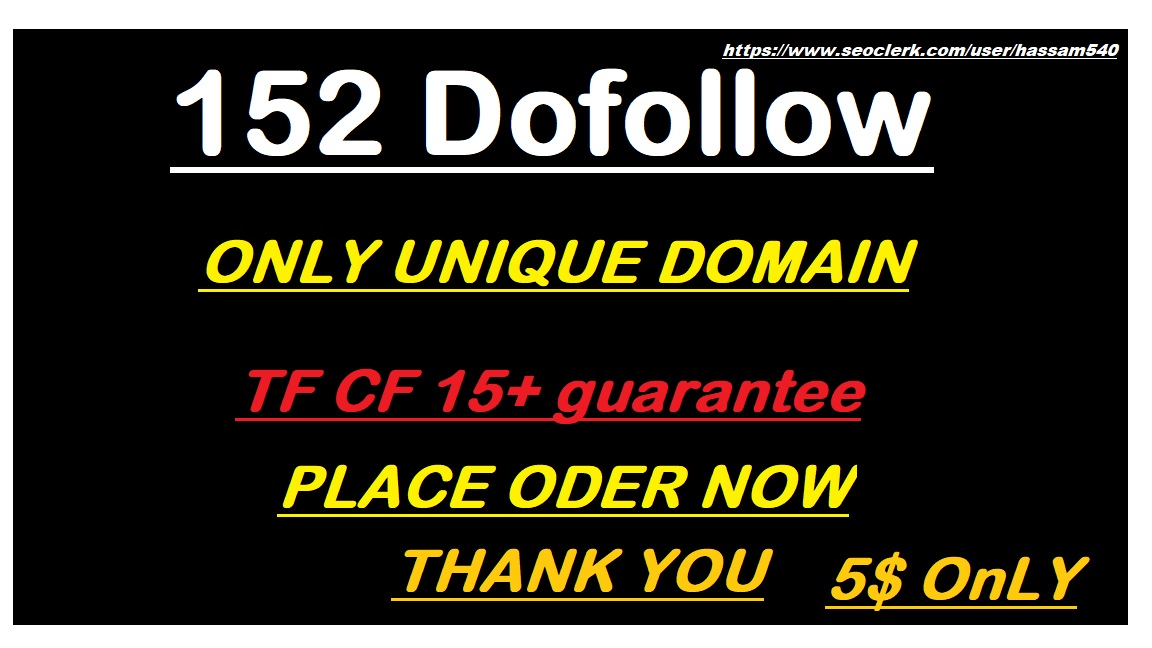 Build 152 Dofollow and only unique domain blog comment