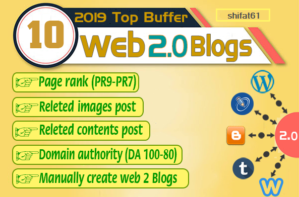 Handmade 10 Web 2.0 Buffer Blog with Unique Content,  Image and Video