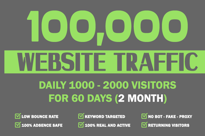 Drive 100,000 Real Website Keyword Targeted Low Bounce Rate Traffic