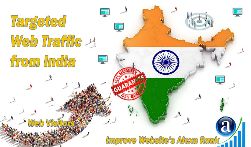 Send 25.000 India web visitors real targeted geo traf...