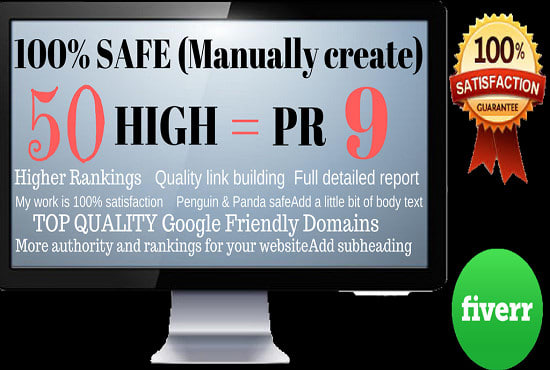 Manually Create 50 High Pr9 SEO Backlinks