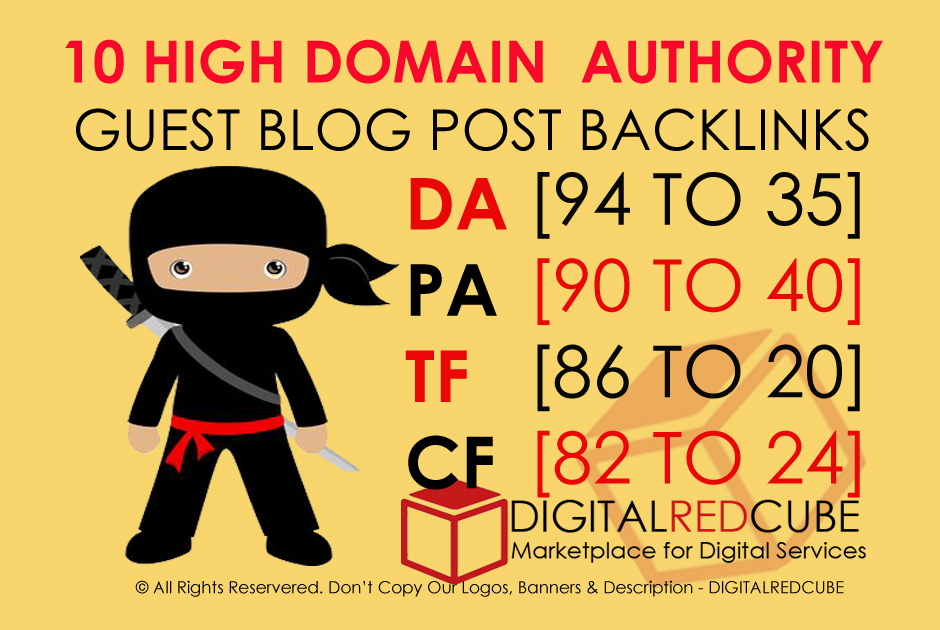 Publish 10 X High Authority Guest Post DA 95-35 With Dofollow Backlinks
