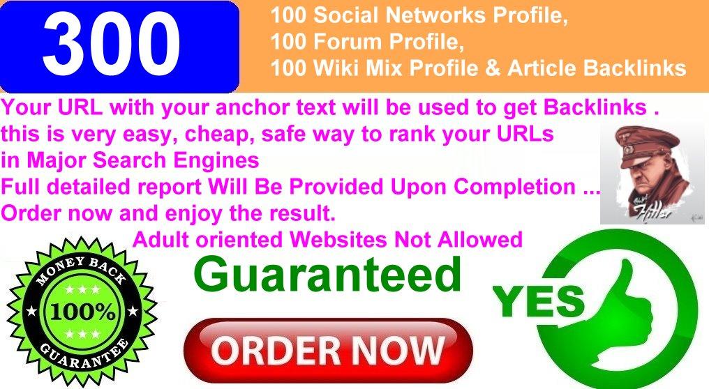300 Backlinks.100 Forum Profile,100 Wiki Mix Profile amp Article Backlinks.100 Social Networks Profile