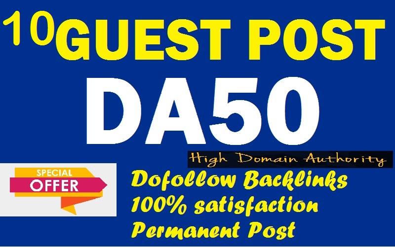 Provide you 10 high quality DA50 permanent dofollow blog