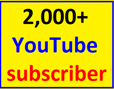Guaranteed 2,000+You'tube channel subcriber non drop  within 48-96 hour complete