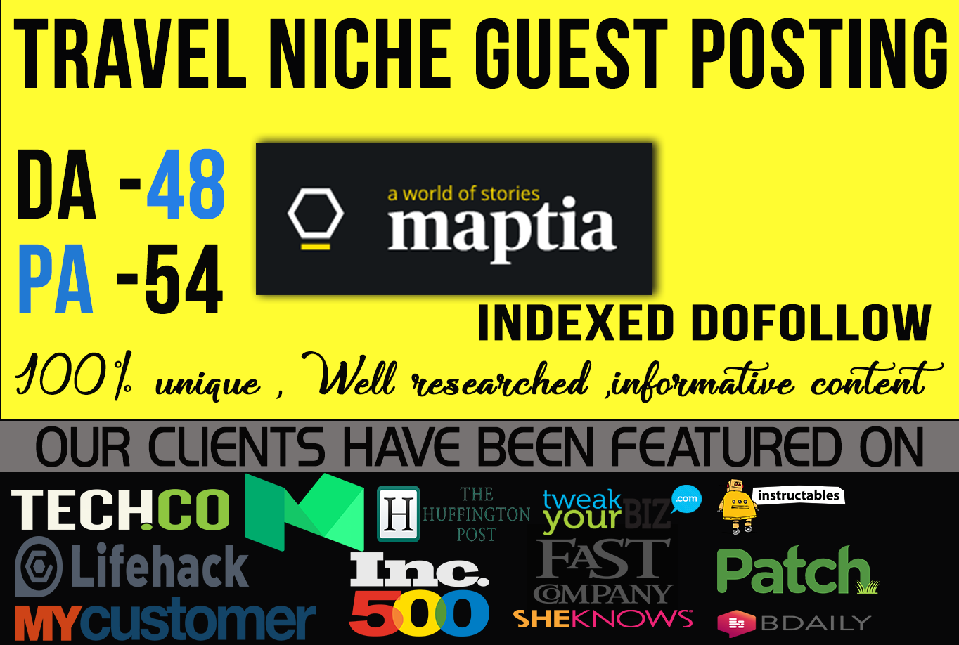 Get you dofollow backlink by guest post from high aut...