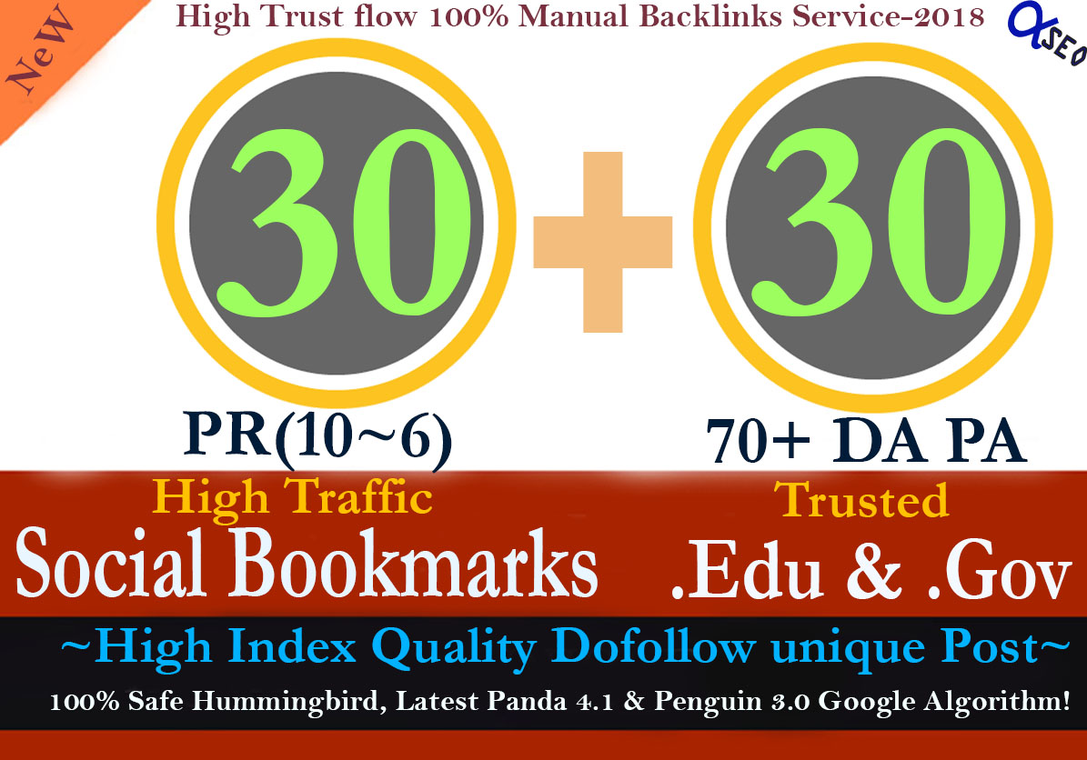 Manually Build 60 Backlinks 30 of the pr10-6 Social Bookmarks and 30. Edu & Gov Links to Boost Your SEO Rank