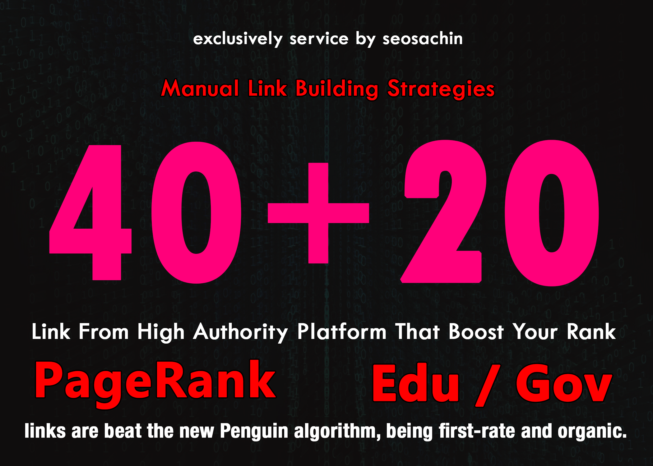 Skyrocket Your Google Rankings With 40 PR9 + 20 EDU GOV Permanent Backlinks From High Authority Domain