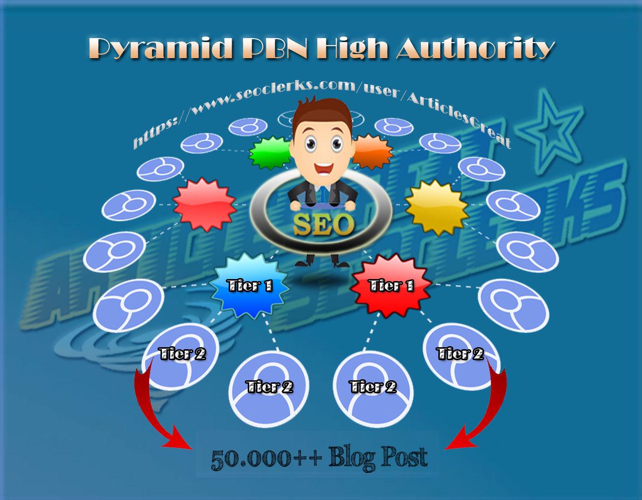 PREMIUM Pyramid PBN Backlink DA 90 'Tier 1' + 50.000 'Tier 2'