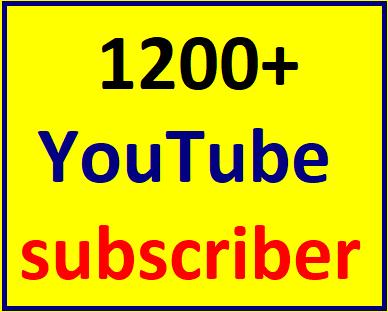 1200-1500 You'tube channel subcriber non drop  within 12-24 hour complete