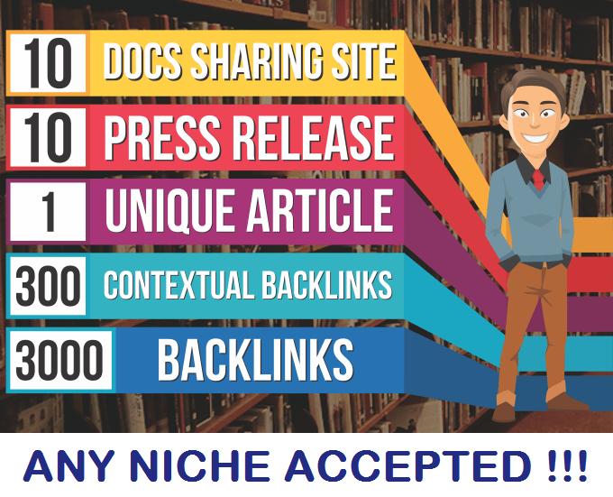 10 Press Release,  10 PDF Sites, 1 UNIQUE article, 300 High Pa Da,  3000 Backlinks