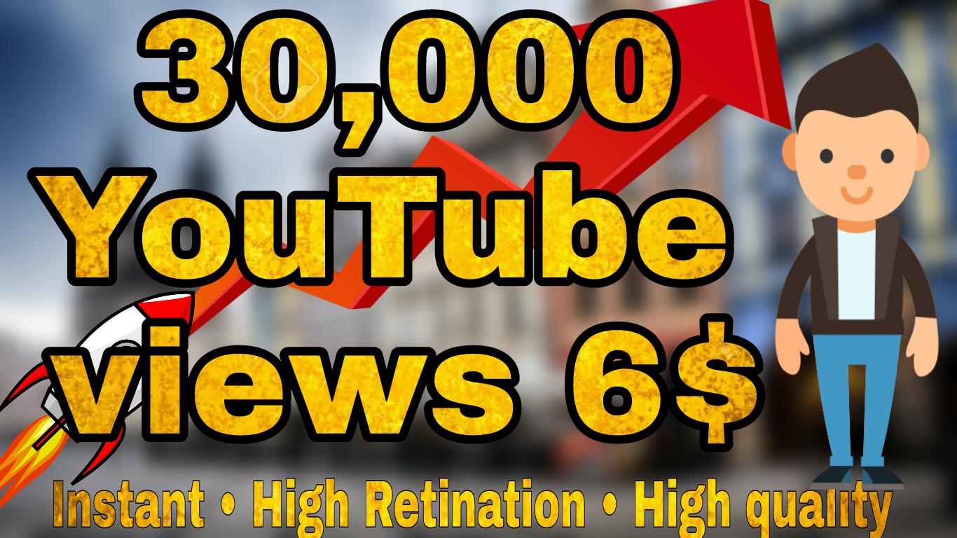 30000 30k High Quality YouTube Vi ews Fully safe Super Instant
