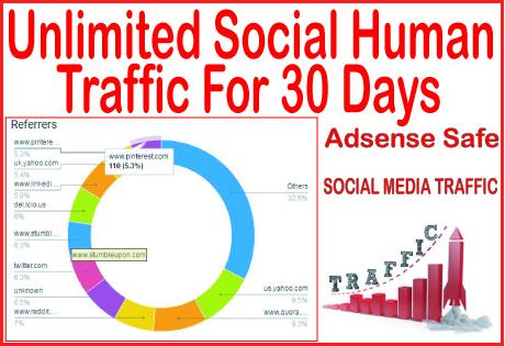 Get 30 days of Human traffic from social & organi...